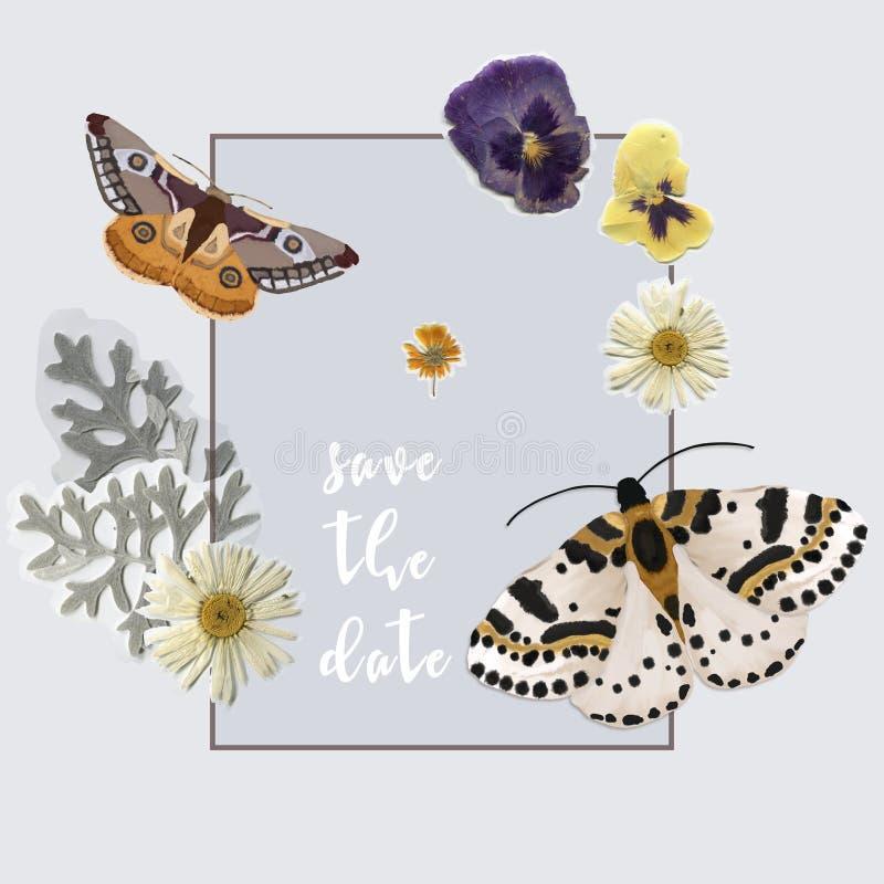 Designkort med fjärilar och blommor Konst för Watercolot stilgem stock illustrationer