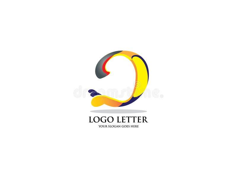 DesignLogo Vector Graphic Branding Letter för initial bokstav D beståndsdel vektor illustrationer