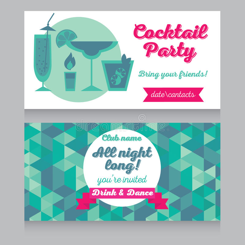 Designmall för cocktailpartyinbjudan stock illustrationer