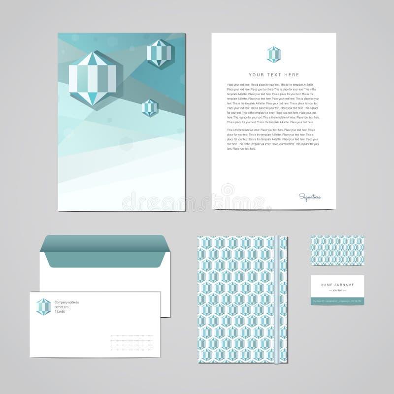 Designmall för företags identitet Dokumentation för affären (mapp, brevhuvud, kuvert, anteckningsbok och affärskortet) Geometr stock illustrationer