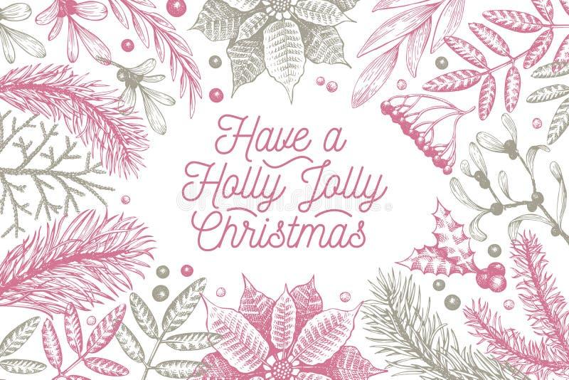 Designmall för glad jul Drog illustrationer för vektor hand Hälsningjulkort i retro stil Ram med royaltyfri illustrationer