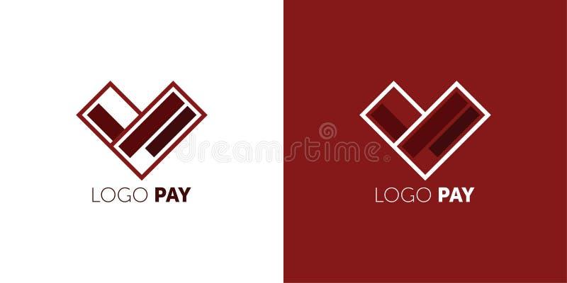 Designmall för logotyp PAY-vektor Ikon för Easy Pay Concepay piltecken för kreditkort Symbol för virtuella elektroniska pengar stock illustrationer