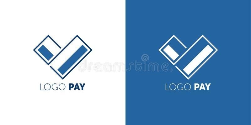 Designmall för logotyp PAY-vektor Ikon för Easy Pay Concepay piltecken för kreditkort Symbol för virtuella elektroniska pengar royaltyfri illustrationer