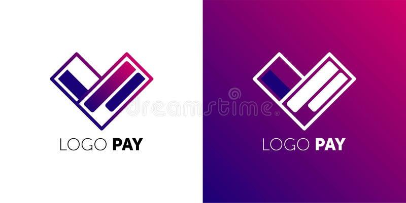 Designmall för logotyp PAY-vektor Ikon för Easy Pay Concepay piltecken för kreditkort Symbol för virtuella elektroniska pengar vektor illustrationer