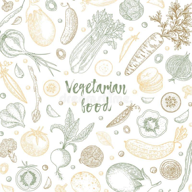 Designmall för organisk mat pepprar ny maize för bakgrundscabbadgemoroten grönsaker Detaljerad vegetarisk matteckning Lantgårdmar stock illustrationer