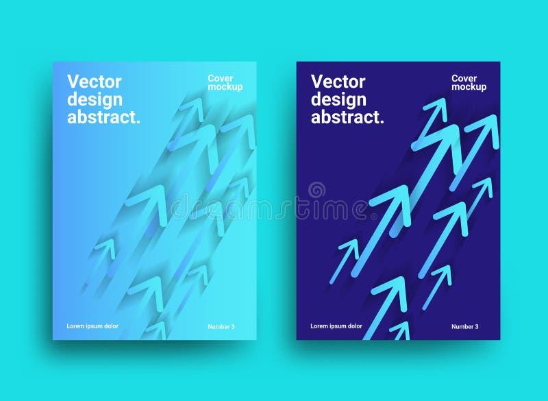 Designmall med pilar Illustration av rörande övre för pilar stock illustrationer