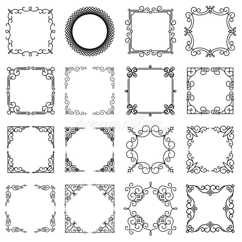 Designmallar för logo, märker och förser med märke Abstrakt linje Retro ramar royaltyfri illustrationer