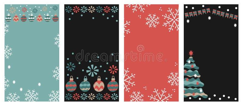 Designmallar för sociala massmediaberättelser Vektorn ställde in av julbollar, stjärnor, snöflingor stock illustrationer