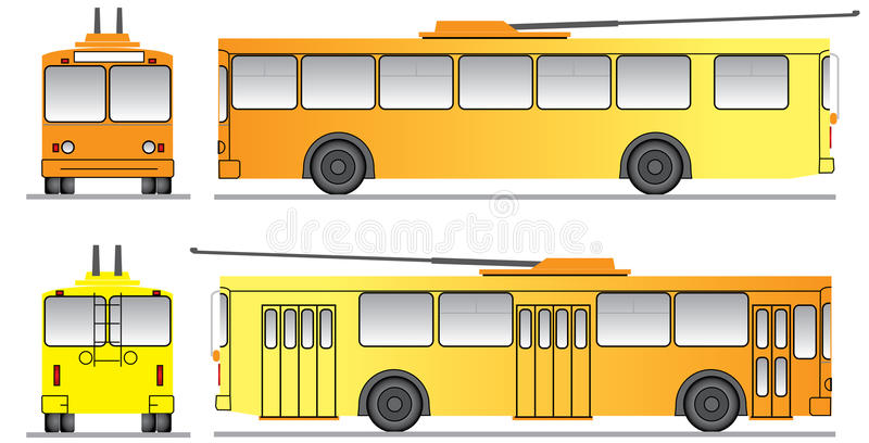 designmalltrolleybus arkivbild