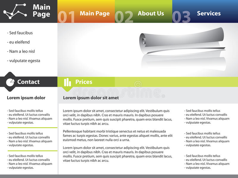 designmallwebsite vektor illustrationer
