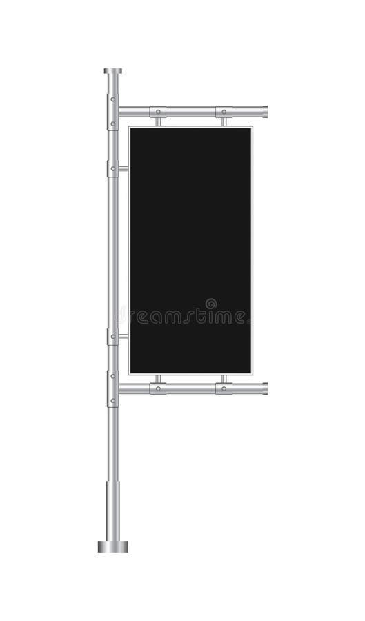 Designmellanrumsbaner för website Svart utomhus- panelflagga i modellstil Ställning som annonserar affischen, sköld på bakgrund v stock illustrationer