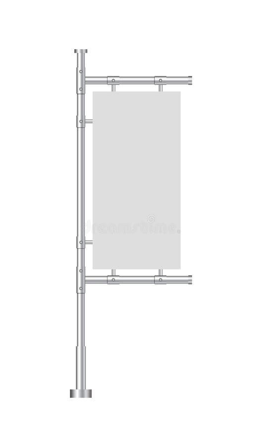 Designmellanrumsbaner för website Vit utomhus- panelflagga i modellstil Ställning som annonserar affischen, sköld på bakgrund vek vektor illustrationer
