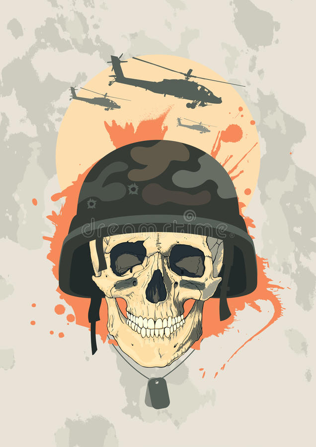 designmilitärskalle stock illustrationer
