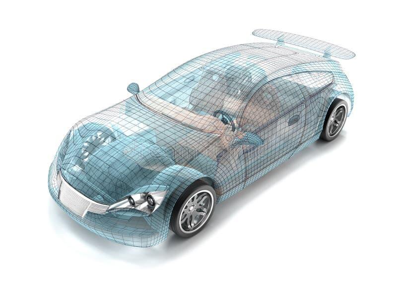 designmodellen för bilen 3d min äga framför tråd royaltyfri illustrationer