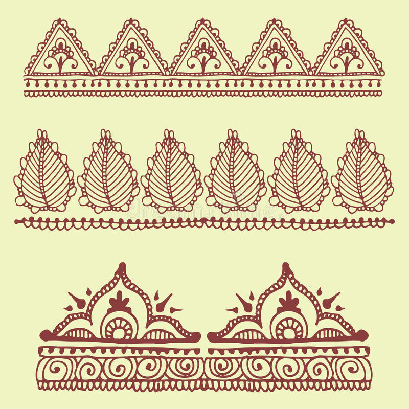 Designmusterpaisley-Arabeske mhendi des Hennastrauchtätowierungsbraun mehndi Blumengekritzels dekoratives dekoratives indisches lizenzfreie abbildung