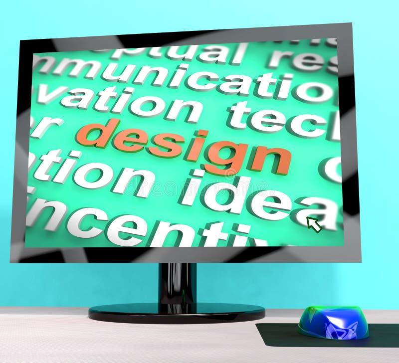 Designord på konstverk för diagram för datorshower vektor illustrationer