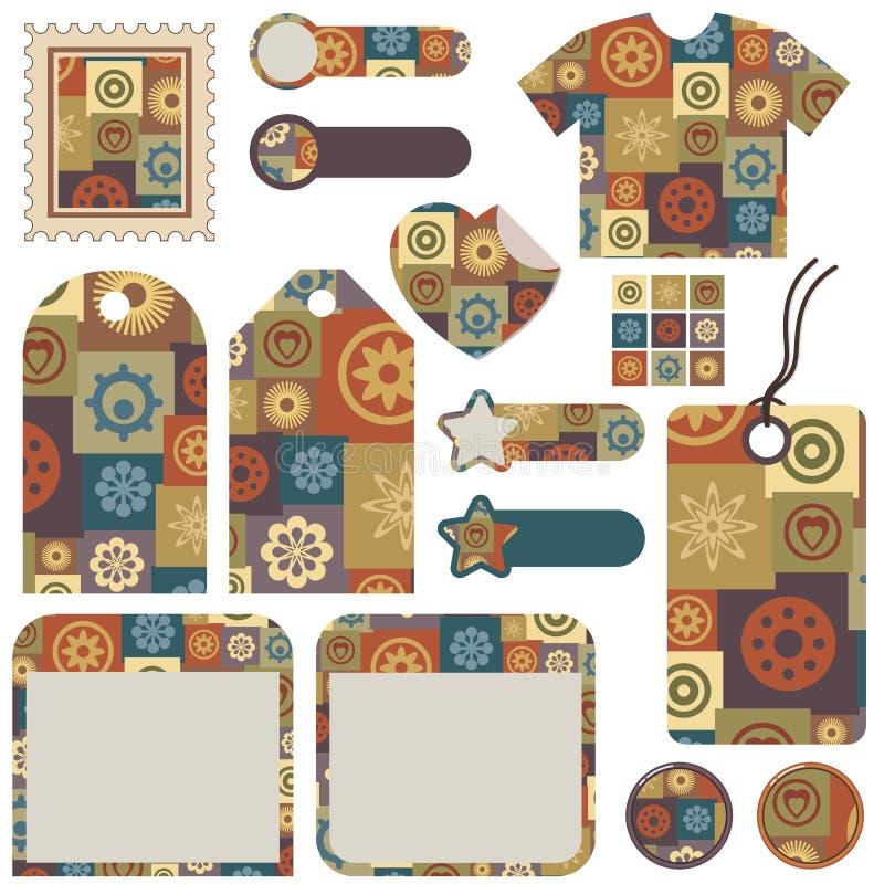 designpatchworkset royaltyfri illustrationer