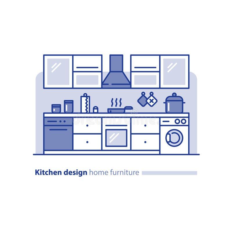 Designprojekt, kökmöblemang, ordning och planläggning, enkelhetsstätta stock illustrationer