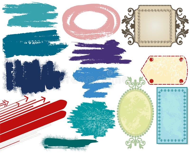 designramgrunge royaltyfri illustrationer