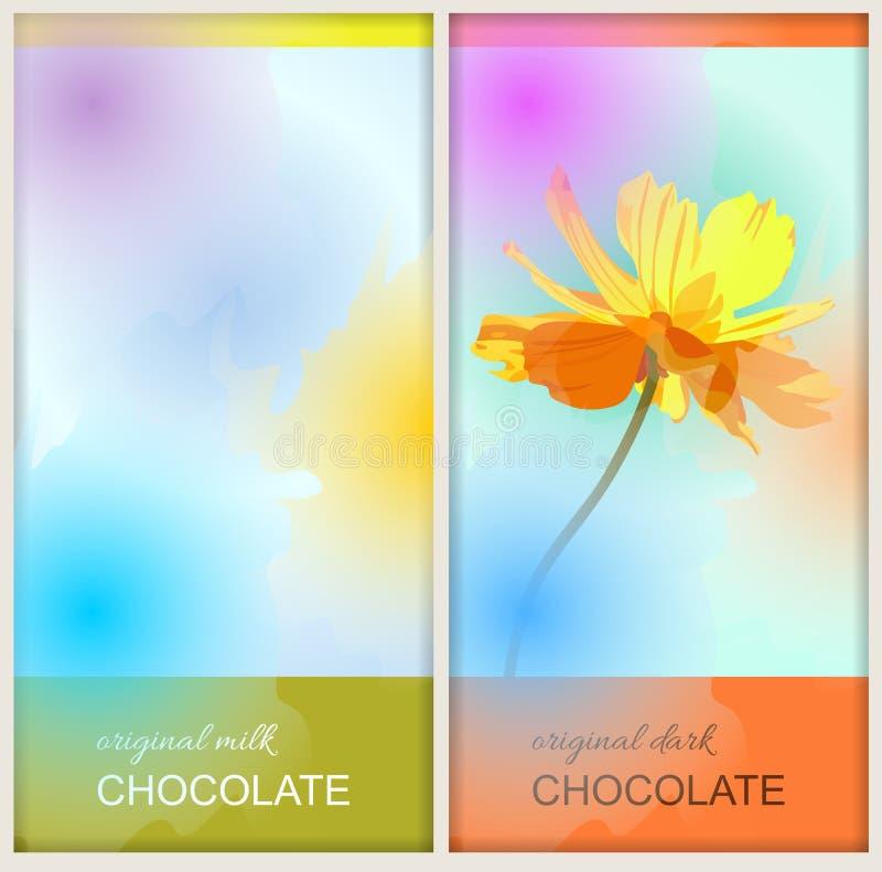 Designs d'emballage de barre de chocolat avec la fleur et les taches colorées dans le style d'aquarelle illustration de vecteur