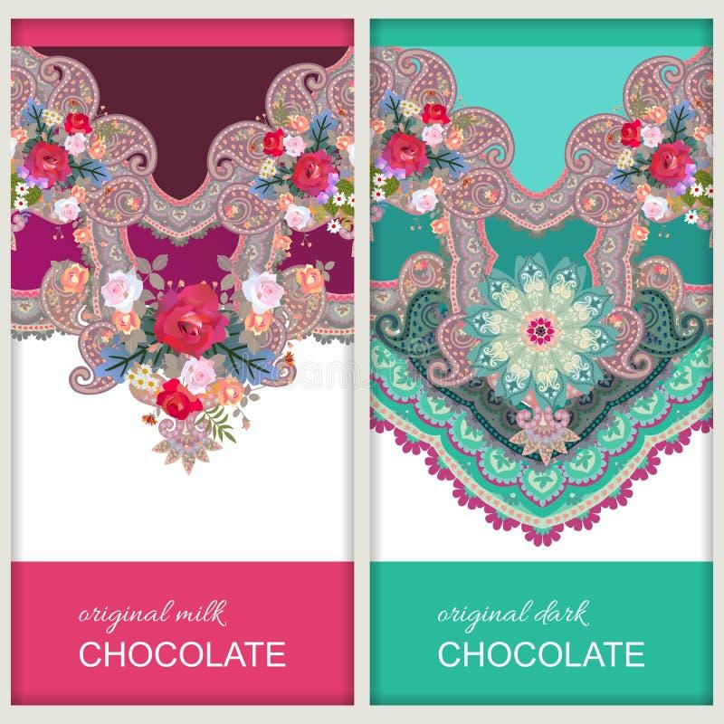 Designs d'emballage de barre de chocolat dans le style ethnique avec l'ornement floral et de Paisley Motifs indiens et russes Car illustration de vecteur