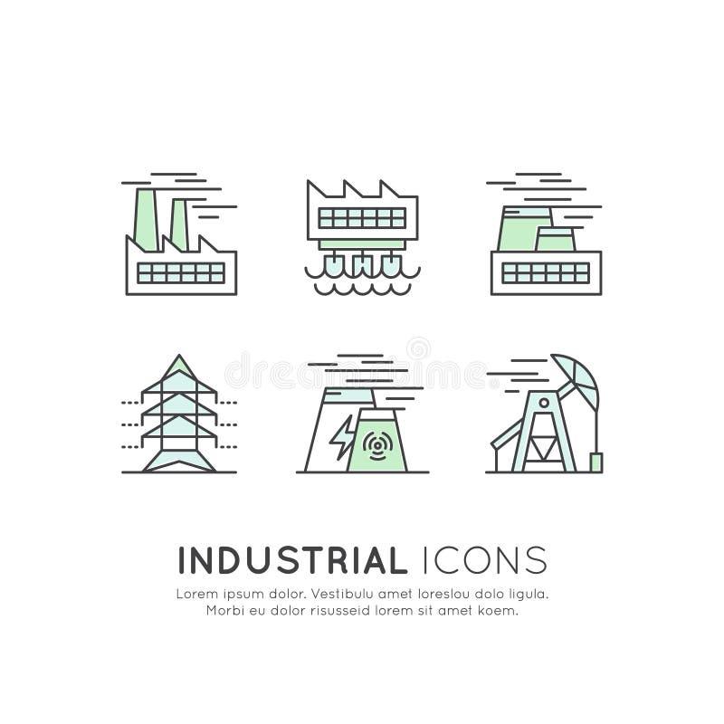 Designsamlingsuppsättning av miljön, förnybara energikällor, hållbar teknologi, återvinning, ekologilösningar, grön fabriksla för stock illustrationer