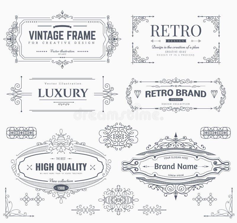 Designsammlung Weinlesemuster stock abbildung