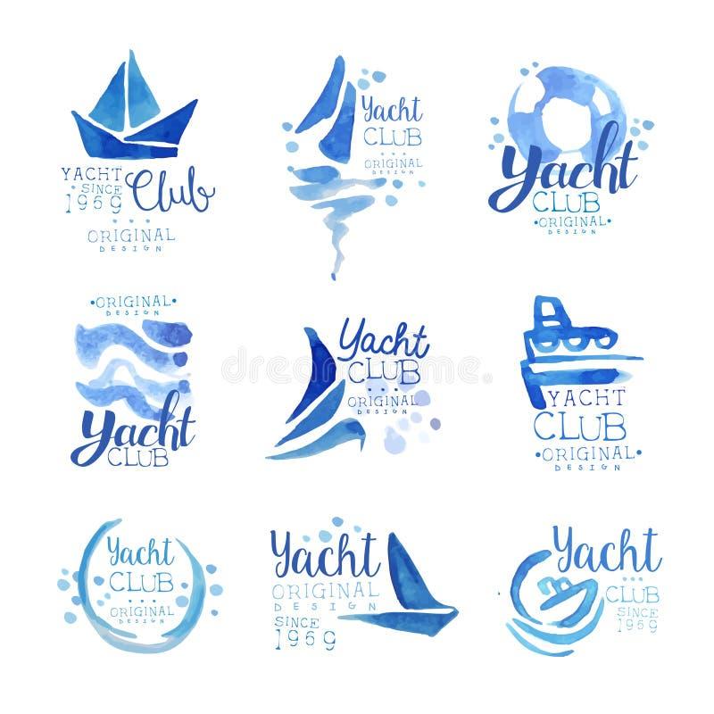 Designsatz des Logos des Yachtclubs seit 1969 ursprünglicher, Elementfirmenlogo, blauer Aquarellvektor der Geschäftsidentität lizenzfreie abbildung