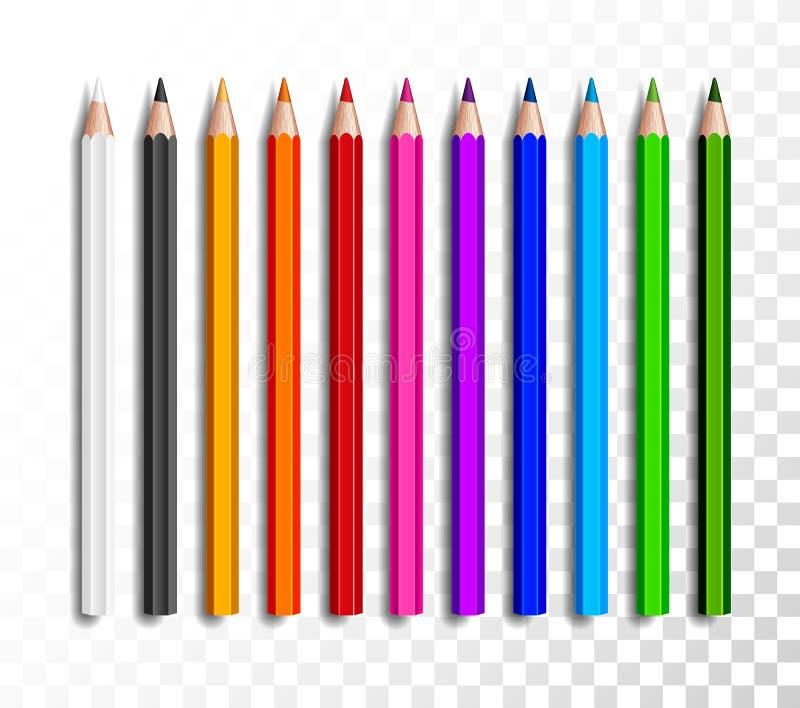 Designsatz realistische farbige Bleistifte auf transparentem Hintergrund Schuleinzelteile, bunte Bleistiftvektorillustration stock abbildung