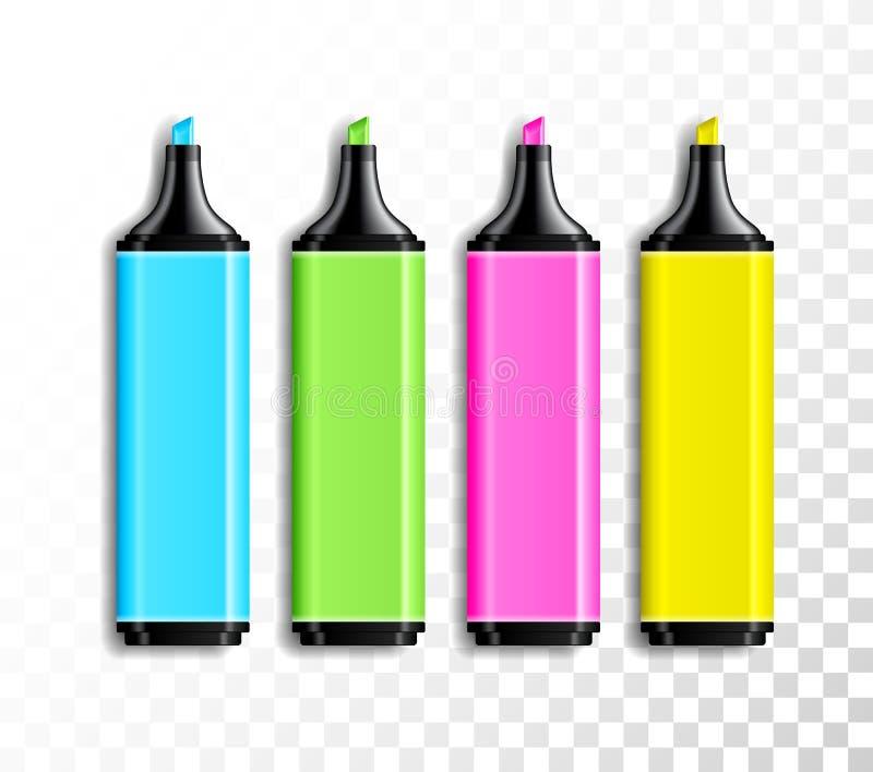 Designsatz realistische farbige Leuchtmarkerstifte auf transparentem Hintergrund Schul- oder Büroeinzelteile, bunter Stiftvektor vektor abbildung