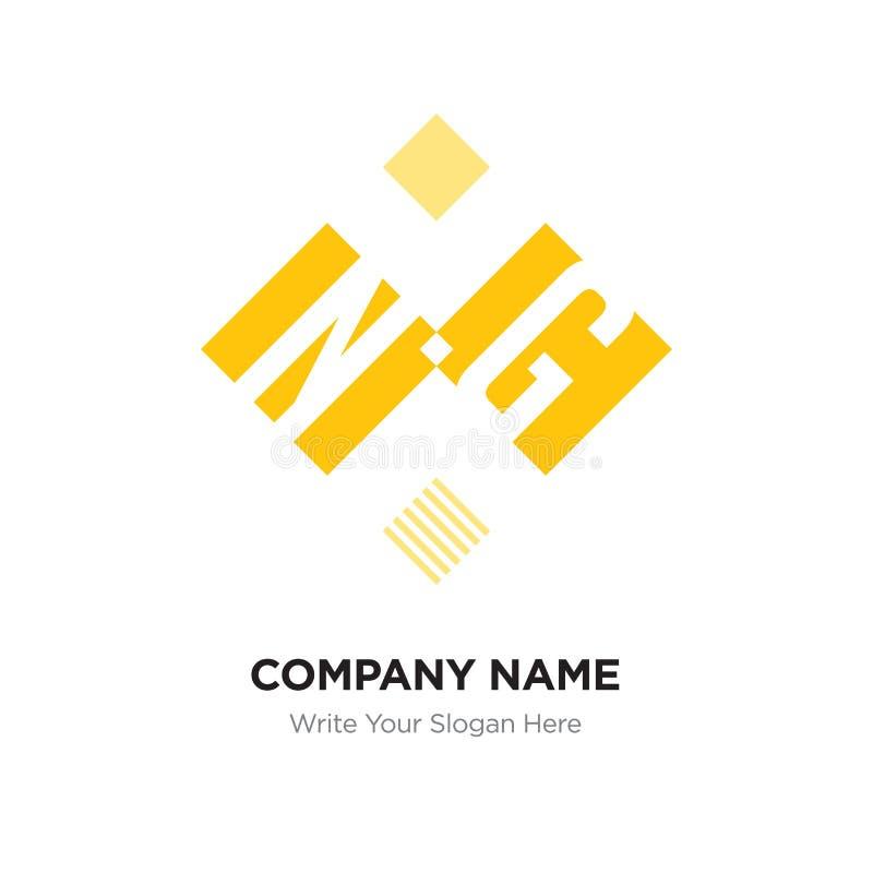 Designschablone abstrakten Buchstabe NG- oder GN-Logos, schwarzes Alphabet herein lizenzfreie abbildung