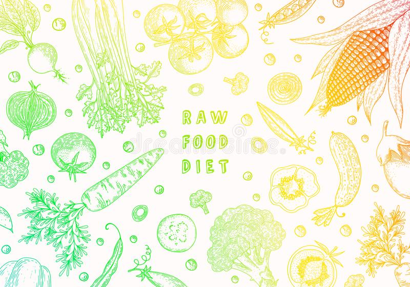 Designschablone des biologischen Lebensmittels Frisches vegetables Hand gezeichneter Illustrationsrahmen mit Gemüse Bunte Schablo vektor abbildung