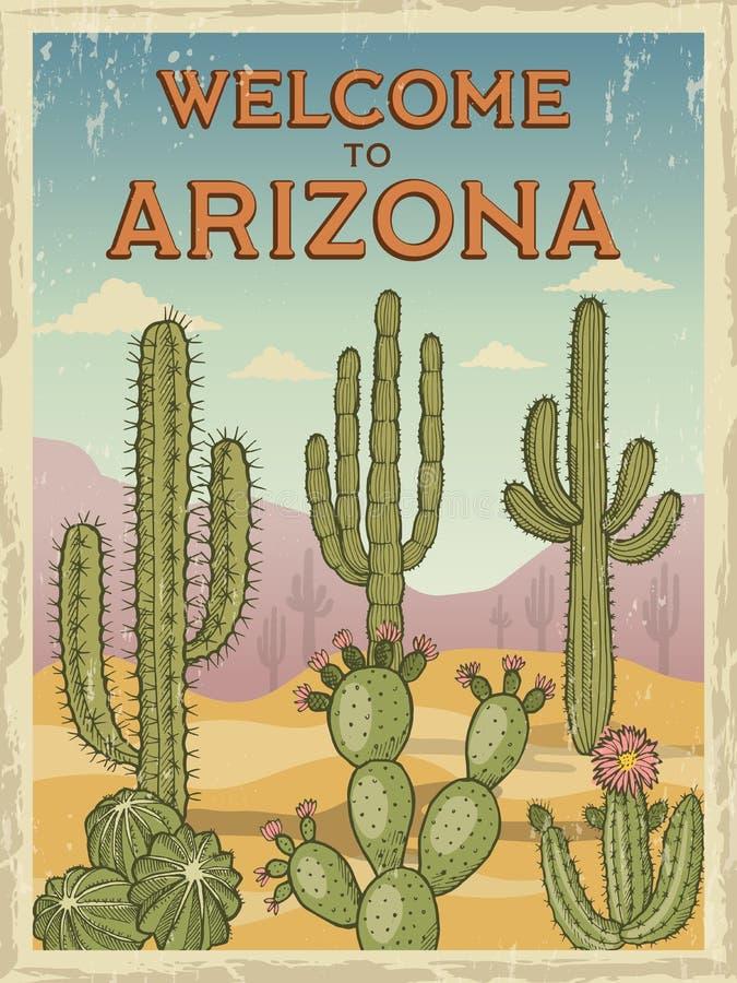 Designschablone des Retro- Plakatwillkommens nach Arizona Illustrationen von wilden Kakteen lizenzfreie abbildung