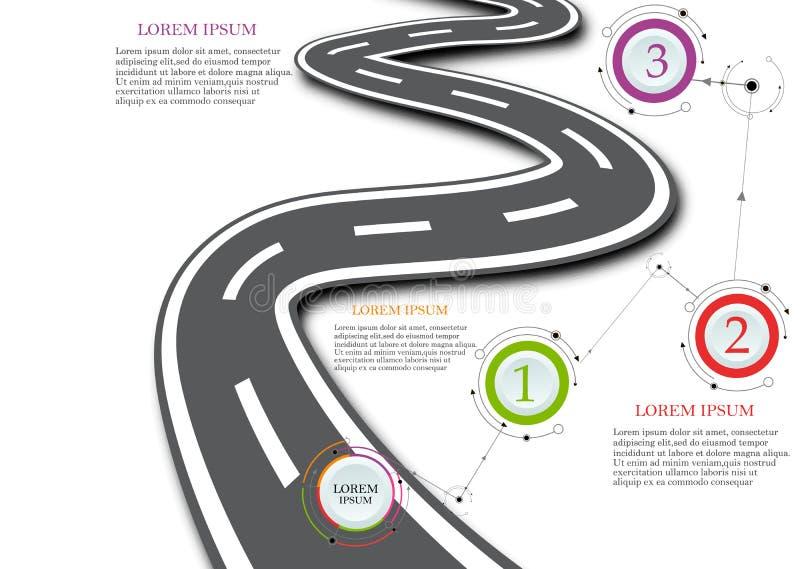 Designschablone: Straßenkarte-Geschäftszeitachse, Vektor-Illustration stock abbildung