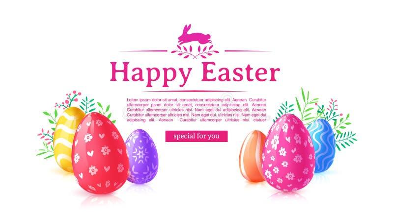 Designschablonenfahne für fröhliche Ostern Farbiges Ei und Blume des Plakats Dekoration Horizontale Karte mit Logo lizenzfreie abbildung