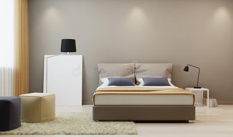 Designschlafzimmer in der warmen Tonne lizenzfreie abbildung
