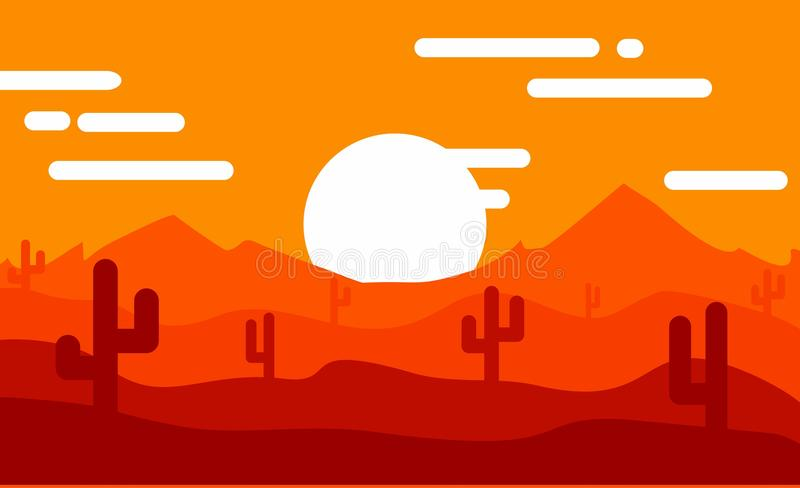 Designsonnenaufgang in der Wüste stockfoto