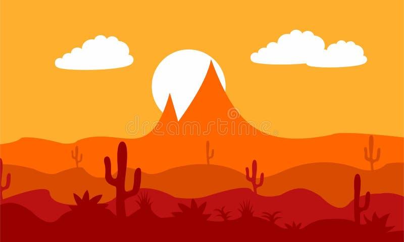 Designsonnenuntergang in der Wüste stockfotos