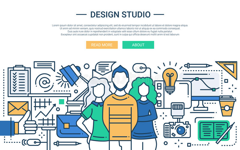 Designstudio - linje designwebsitebaner stock illustrationer