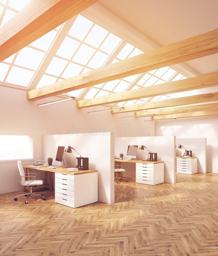 Designstudiokontor i loft stock illustrationer