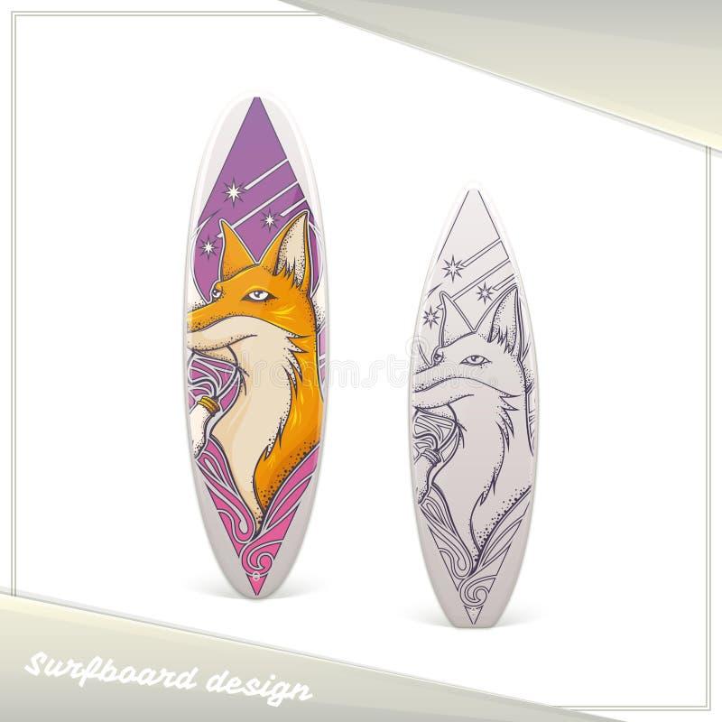 Designsurfingbrädaräv royaltyfri illustrationer