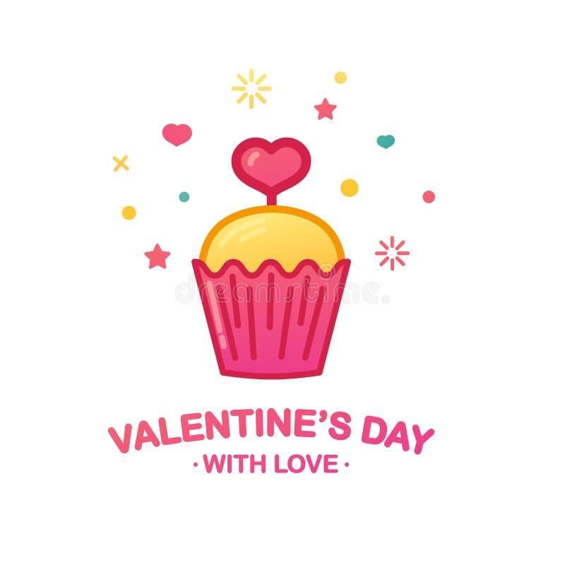 Designsymbol med den gulliga muffin Söt efterrätt med hjärtasymbolet för kafébaner eller för valentin` s för befordran lycklig da stock illustrationer