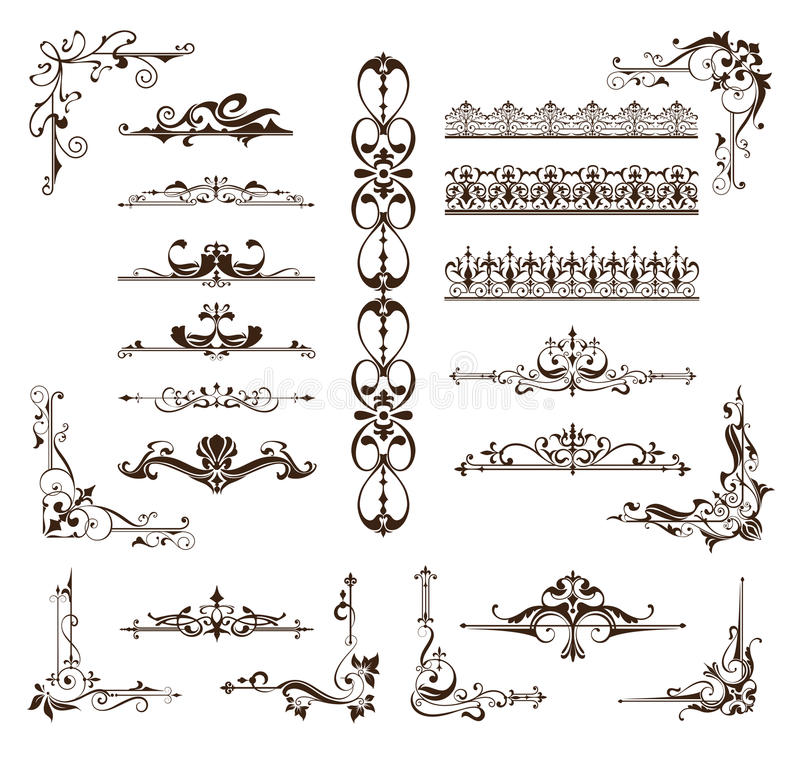 Designtappning smyckar gränser, ramar, hörn vektor illustrationer