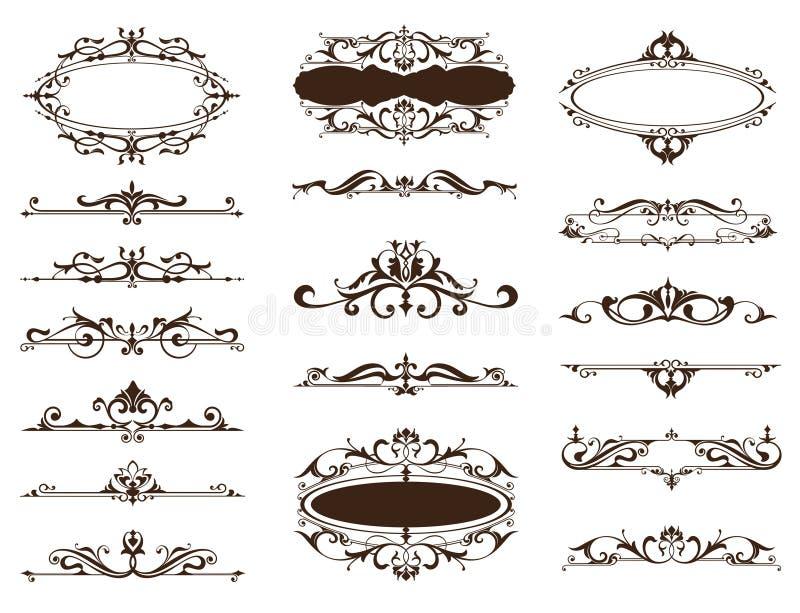 Designtappning smyckar gränser, ramar, hörn stock illustrationer