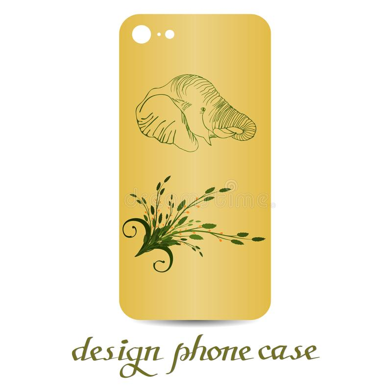 Designtelefonfall Dekorerade telefonfall är blom- dekorativ elementtappning stock illustrationer