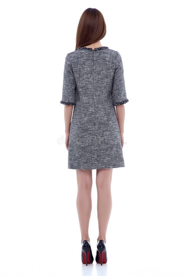 Designtendenzkleidungs-Kleid-casu der Schönheitsfrauenmodellabnutzung stilvolles stockbild