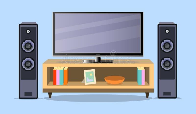 DesignTVzon i en plan stil Inre vardagsrum med möblemang royaltyfri illustrationer