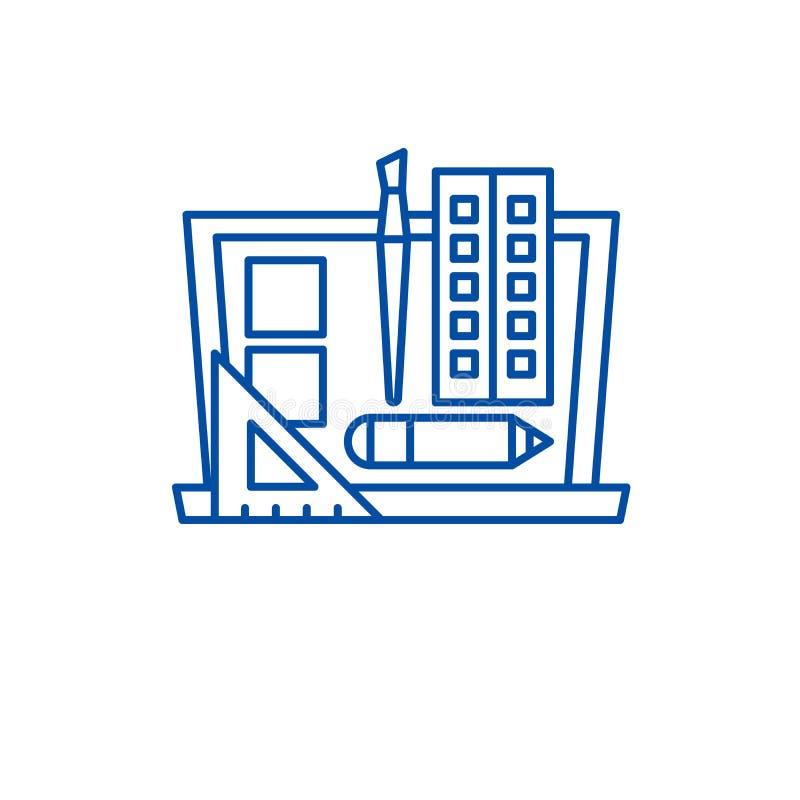 Designutvecklingslinje symbolsbegrepp Symbol för vektor för designutveckling plant, tecken, översiktsillustration stock illustrationer