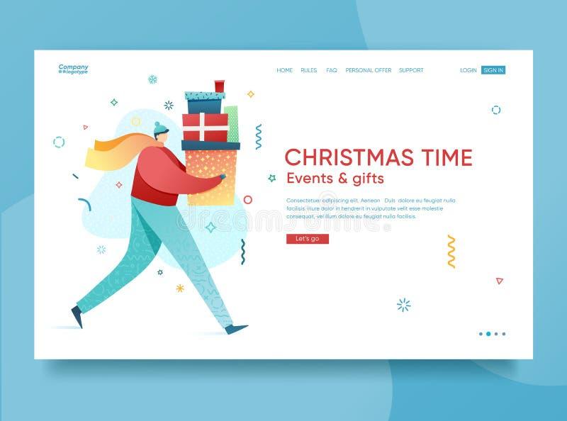Designvinterferier som landar sidamallen Glad jul och websiteorientering för lyckligt nytt år Plana folktecken royaltyfri illustrationer