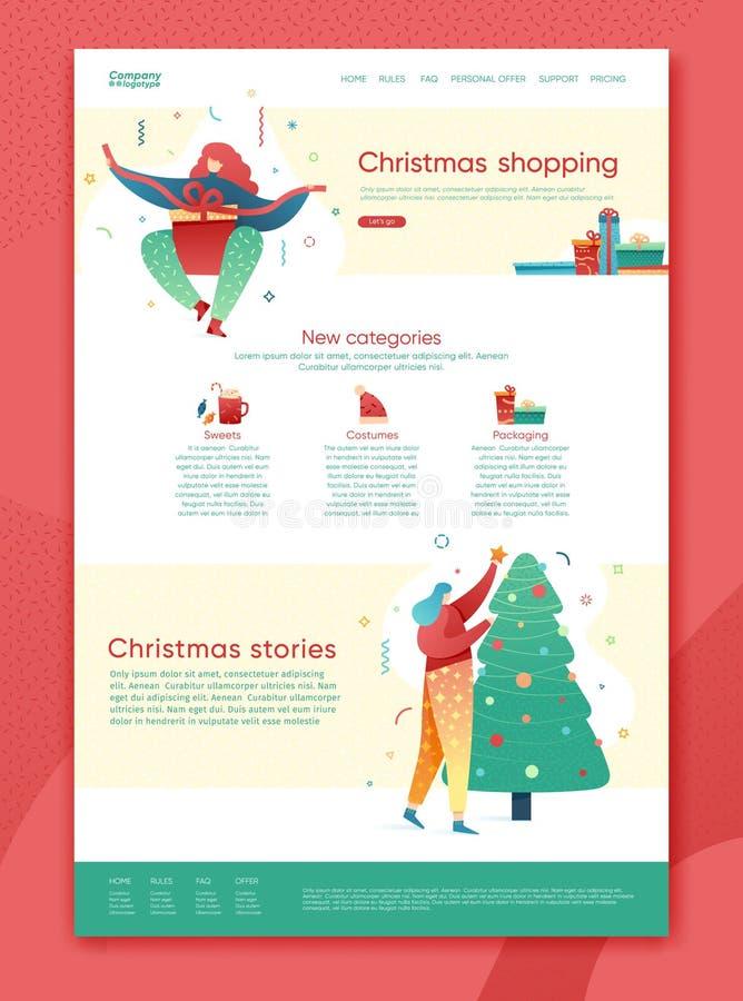 Designvinterferier som landar sidamallen Shopping för glad jul och websiteorientering för lyckligt nytt år Plana kvinnatecken stock illustrationer